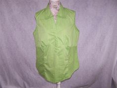 CATO Shirt Top Plus 18/20W Womens Sleeveless Split V-Neck Green Stretch #Cato #Blouse #Casual
