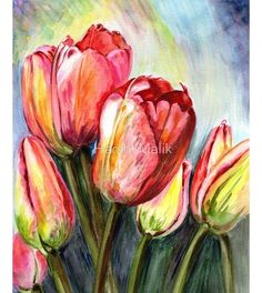 Tulips Painting - High In The Sky by Harsh Malik Tulip Painting, Sky Painting, Pour Painting, Watercolor Cards, Watercolor Flowers, Watercolor Paintings, Original Paintings, Pink Iphone, Pink Art