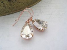 Your place to buy and sell all things handmade Bridal Earrings, Crystal Earrings, Silver Earrings, Drop Earrings, Rose Gold Plates, Ear Piercings, Gift Guide, Swarovski Crystals, Festive