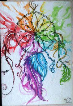 Watercolor dreamcatcher on canvas postcard
