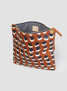 Foldover Clutch Bag Tan With Dots