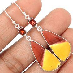 Mookaite & Garnet 925 Sterling Silver Earrings Jewelry SE128241 | eBay