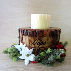 Natural Wood Candle Holder - LED Centerpiece - Wood Christmas Centerpiece - Wood Burned - Holiday Decor - Wood Faith Decor - Gifts for Mom