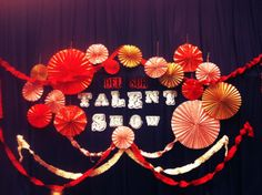 i was in charge of the little backdrop for our wards talent show. TRIPLED as valentines decor+backdrop for a sweet shower. Pta School, School Events, School Parties, School Ideas, Talent Show, School Decorations, Valentine Decorations, 9th Birthday, Birthday Parties