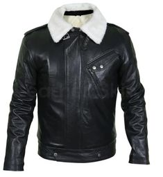 Men Black Genuine Leather Jacket with White Fur Collar Leather Top Hat, Purple Leather Jacket, Long Leather Coat, Leather Jacket With Hood, Leather Skin, Black Leather, Best Leather Jackets, Revival Clothing, Fur Collars