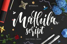 Mathila Script by COB on @creativemarket Brush Script Font, Script Typeface, Calligraphy Fonts, Cool Fonts, New Fonts, Street Art, Font Setting, Premium Fonts, Pencil Illustration