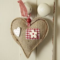 Burlap country padded hanging heart by LeighNichele