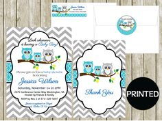 printed blue gray chevron owl family boy baby shower invitations thank you cards notes address label sticker envelope seals party supplies