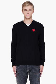 PLAY COMME DES GARÇONS Black Wool Red Emblem Sweater