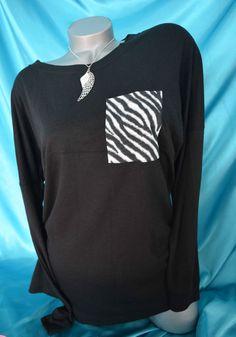 NWT Victorias Secret Pink Varsity Crew Neck Top Shirt Black White Zebra SMALL #VictoriasSecret #KnitTop