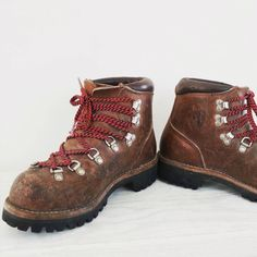 German Leather Hiking Boots Vintage Vibram Soles Red Laces