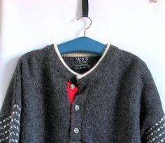 Norwegian Sweater Men's Vintage Navy Grey Wool  by artwardrobe, $59.00