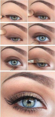 Pretty eye makeup, step by step.