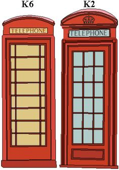 red english phone booths k6 and k2 sitting next to each other