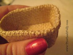 DIY miniature baskets - super super easy- fabric on little plastic tubs