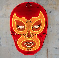 Red luchador neon art -- Todd Sanders, Roadhouse Relics