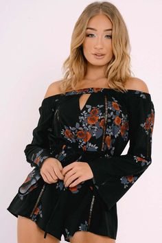 44490a4f2413c1 CHARLOTTE CROSBY BLACK FLORAL CUT OUT BARDOT PLAYSUIT Going Out Playsuits,  Sequin Playsuit, Charlotte