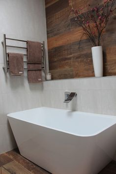 What better way to accent a freestanding bath than with a waterfall bath spout. Heated Towel Rail is a must for the bathroom in the winter months