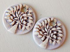 "Porcelain Earrings "" tree "" By Mª Carmen Rodriguez https://www.facebook.com/groups/CeramicArtBeadMarket"