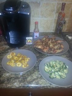 Homemade! Fusion meal! Southern Olive oil cruchy organic chicken drummettes, Jamaican style plantains and California grilled zucchini!