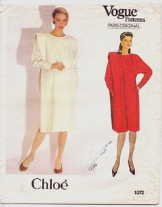 80s Vogue Paris Original Pattern 1072 Chloe Dress by CloesCloset, $18.00