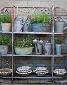Fenton & Fenton watering cans baker's rack Interior Design Inspiration, Garden Inspiration, Fresco, Garden Center Displays, Farmhouse Garden, Garden Pictures, Succulent Terrarium, Garden Pots, Herb Garden