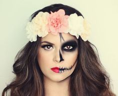 If you are after  simple halloween make up this year why not try this stunning look and include flowers inspired by day of the dead
