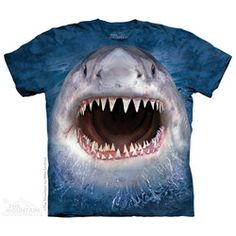 Wicked Nasty Shark T-Shirt by The Mountain. Big Face Aquatic Sizes NEW - Shark Tshirt - Latest Shart Tshirt ideas Sharks For Kids, Big Face, Shark T Shirt, 3d T Shirts, Great White Shark, Shark Week, Adult Children, Graphic Tees, 1