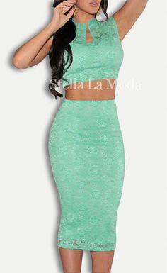 $29.99 Lace Scoop Back Midi Skirt Set - Stella La Moda