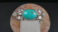 "8"" Southwester Turquoise Sterling Silver Rose Cuff Bracelet on Etsy, $88.00"