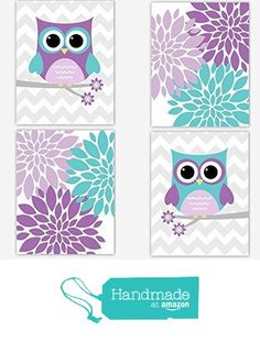 Baby Girl Nursery Wall Art Purple Lavender Teal Aqua Owls Flower Burst Dahlia Mums Modern Floral Bedroom Prints Baby Nursery Decor SET OF 4 UNFRAMED PRINTS from Dezignerheart Designs