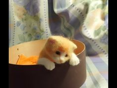 Amazing movable needle felted kitten must check after 2:00 ! ▶ 羊毛フェルトの子猫 みーよちゃん - YouTube