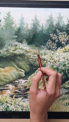 Painting a Watercolor Landscape Watercolor Landscape Tutorial, Watercolor Art Lessons, Watercolor Painting Techniques, Watercolor Landscape Paintings, Watercolor Tips, Landscape Drawings, Watercolour Tutorials, Watercolor Illustration, Landscape Art