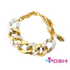 POSH - SUMMER- Bracelet - Fashion bracelet - Gold and silver toned intertwined hoops - Lobster claw closure with chain extension - Dimensions: 27 cm length cm width POSH by FERI - Passion for Fashion - Luxury fashion jewelry for the designer in you Trendy Fashion Jewelry, Fashion Bracelets, Summer Bracelets, Bangle Bracelets, Ladies Boutique, Passion For Fashion, Diamond Jewelry, Jewelery, At Least
