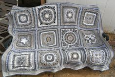 """Ravelry: Devasha's 2013 Morning Walk BAMCAL Afghan.  Links to each of the 12 squares (under """"Patterns used"""") - free patterns. Beautiful blanket! :)"""