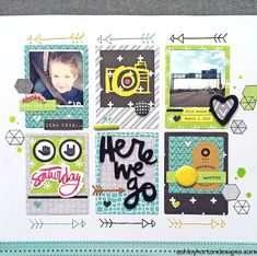 Here We Go - Scrapbook.com  Layout was created with American Crafts Amy Tangerine's Plus One Collection.