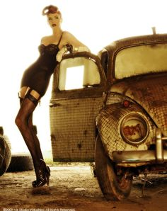 A girl and VW Beetle - Vintage Classic Cars and Girls