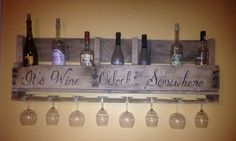 Large Reclaimed Wood Pallet Wine Rack With Wine Glass Holder
