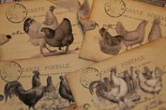 Roosters and Chickens Vintage Postcards  Tags by GreenAcresCottage, $3.75