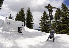 Snowboarding with friends. Sam Hulbert and Brandon Reis. photo: Kyle Beckmann | Snowboarder Magazine