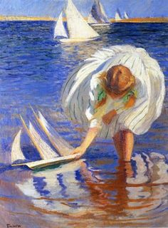 Girl with Sailboat - Counted cross stitch pattern in PDF format by Maxispatterns on Etsy