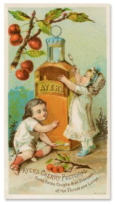 """Antique Trade Card - Ayer's Cherry Pectoral """"Cures Colds, Coughs & All Diseases Of The Throat And Lungs"""""""