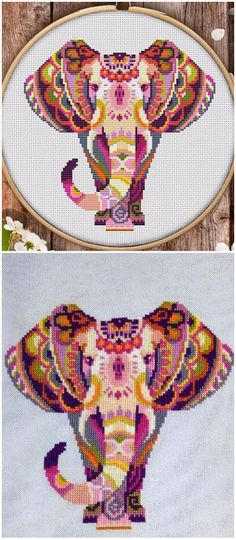 """This is modern cross-stitch pattern of Mandala Elephant for instant download. You will get 7-pages PDF file, which includes: - main picture for your reference; - colorful scheme for cross-stitch; - list of DMC thread colors (instruction and key section); - list of calculated thread length The size of the picture is 7.36"""" X 7.36"""" (18.69 cm X 18.69 cm) - 130 X 130 stitches on Aida 14 count #awesomepatternstudio #crossstitch #countedcrossstitch #easycrossstitch"""