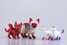 Cat-demon, cat-unicorns and Sakura - unique BJD cats by Walloya Morring Arte Do Kawaii, Unicorn Cat, Cosplay Diy, Cat Doll, Kittens, Cats, Bjd Dolls, Art Studios, Unicorns