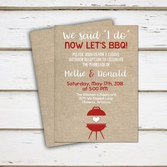 Printable I Do BBQ Invitation, Elopement Reception, Burlap, Outdoor, Barbecue, We Said I do, I do Me Too, Burlap, Rustic, White, MB195