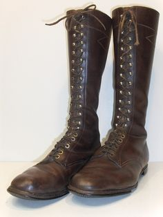GENUINE ANTIQUE BROWN LEADER  LACE UP BOOTS - End 19th Century - Early 20th Century  Catawiki online auction house