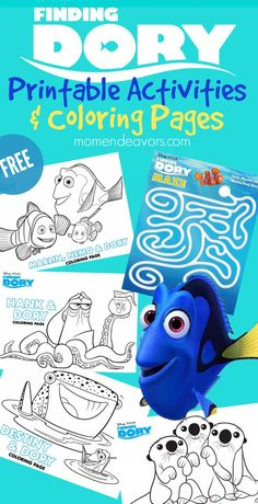 Pixar Drawing Fun Disney-Pixar FINDING DORY Printable Activities and coloring pages - kids will love these free printables, perfect for a Finding Dory party! Nemo Coloring Pages, Fish Coloring Page, Coloring For Kids, Coloring Sheets, Disney Activities, Craft Activities For Kids, Kids Crafts, Movie Crafts, Craft Ideas