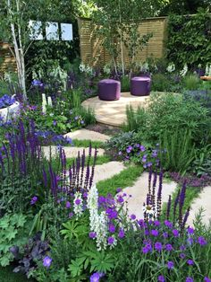 Fantastic small garden design idea. Hard landscaping softened by purple and white planting