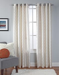 Broadway Embroidered Grommet Curtain in Ivory by Stylemaster