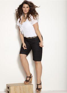 0ee1fb4dbac black shorts white blouse plus size summer outfit. Ana Maria · Women short  pants